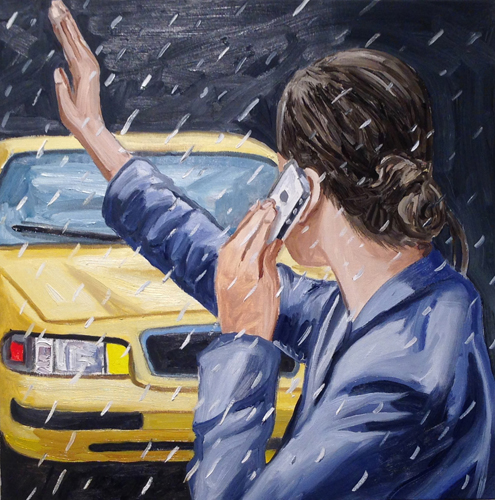"taxi! , 2014 Oil on canvas 30 x 30"""
