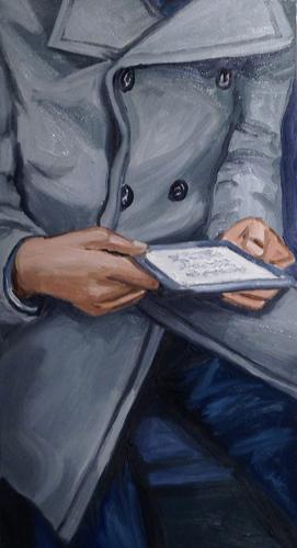 "reader , 2014 Oil on canvas 30 x 16"""