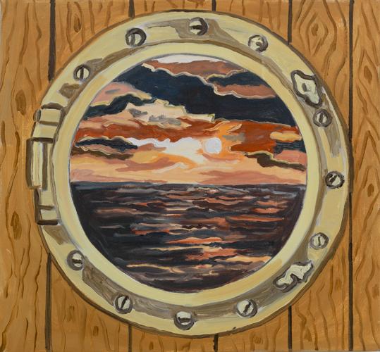 "porthole , 2013 Oil on canvas 26 x 28"""