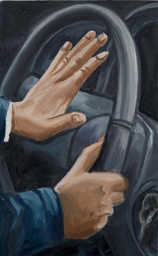 "honk , 2013 Oil on canvas 22 x 14"""