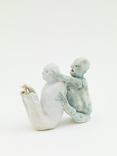 Double (after Giotto) , 2015 glazed porcelain 3 1/2 x 4 x 1 3/4""
