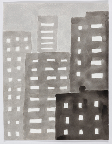 nyc 590 , 2014 acrylic on paper 11 x 9 inches