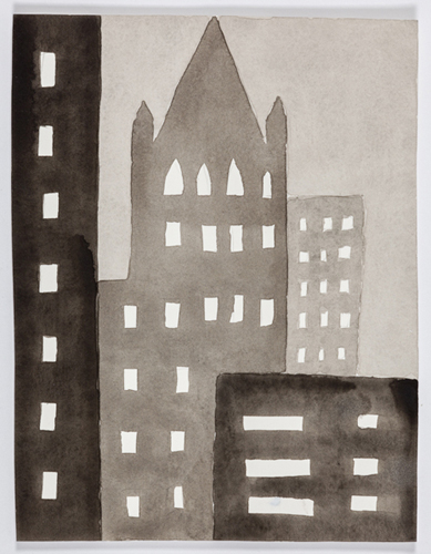 nyc 584 , 2014 acrylic on paper 11 x 9 inches