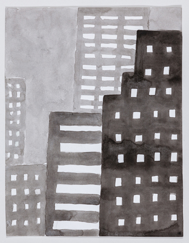 nyc 587 , 2014 acrylic on paper 11 x 9 inches
