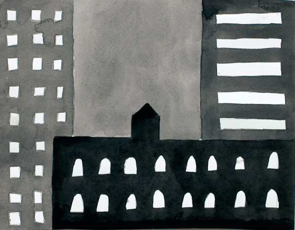 NYC #556 , 2011 acrylic on paper 9 x 11 inches