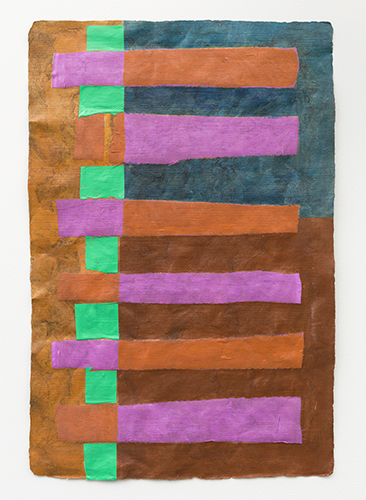 tapete collage , 2016 acrylic and fabric on amate paper 27 x 19 ¼""