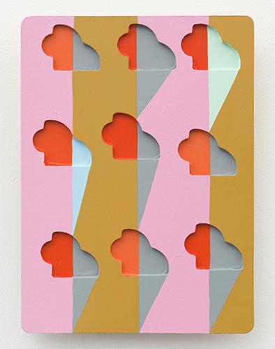 "puzzlin' evidence , 2015 acrylic on wood 12 x 8 ½ x 1"""
