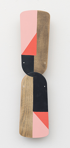 """kitty-cornered , 2015 acrylic on wood 20 ¾ x 5 x 1 ½"""""""