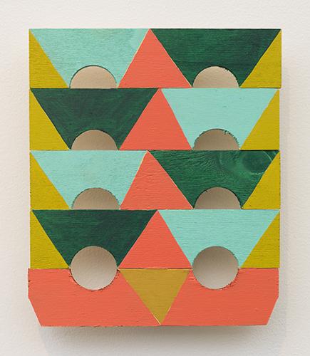 """stack , 2016 acrylic on wood 8 ½ x 7 x ¾"""""""