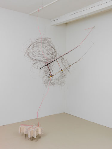 """gone fishing ,2015 stainless steel wire, plastic tube, fishing poles, hydrostone 112 x 80 x 26"""""""