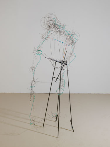 """apparatus #2 ,2015 stainless steel wire, steel, plastic tube, fishing pole 66 x 30 x 17"""""""