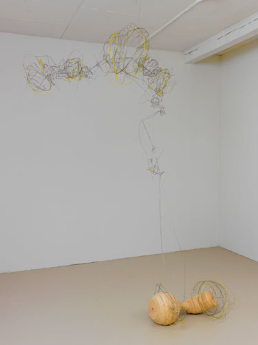 """with wood ,2013 stainless steel wire, plastic tube, pine 100 x 68 x 20"""""""