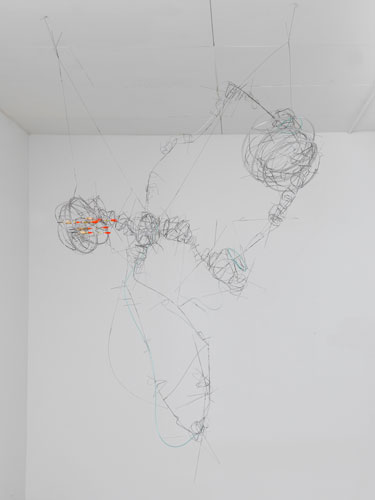 """from another old drawing ,2013 stainless steel wire, plastic tube, bobbers 69 x 47 x 20"""""""