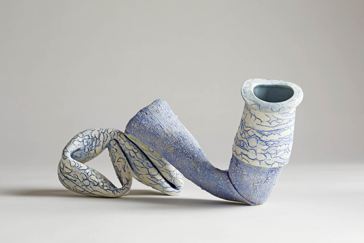 blue sprawl 1 , 2014 glazed ceramic 5 x 10 1/2 x 6 inches