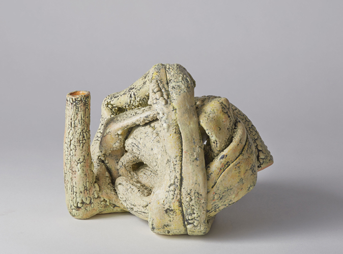 twisted 10 , 2015 glazed ceramic 6 1/2 x 8 x 8 inches