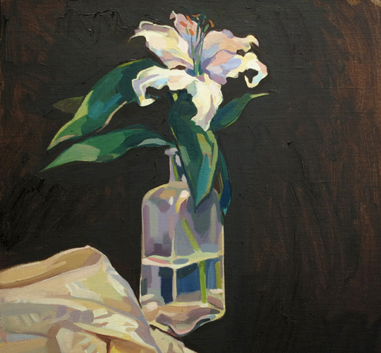 silk and promises , 2014 oil on linen 15 3/4 x 15 3/4 inches