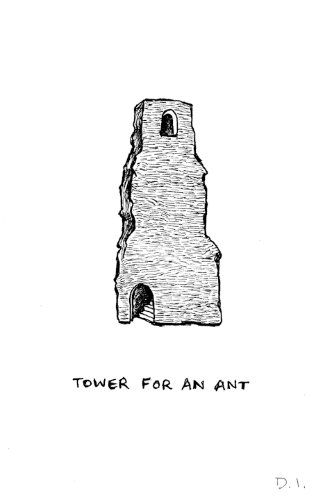 ant tower,  2009 ink on paper 5 5/8 x 3 3/4 ""