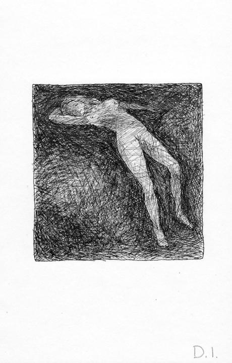 "dark nude, 2009 ink on paper 5 5/8 x 3 3/4 """