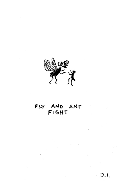 fly and ant fight ,  2009 ink on paper 5 5/8 x 3 3/4 ""