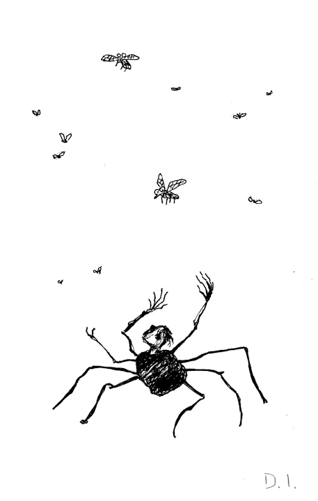 frustrated spider,  2009 ink on paper 5 5/8 x 3 3/4 ""