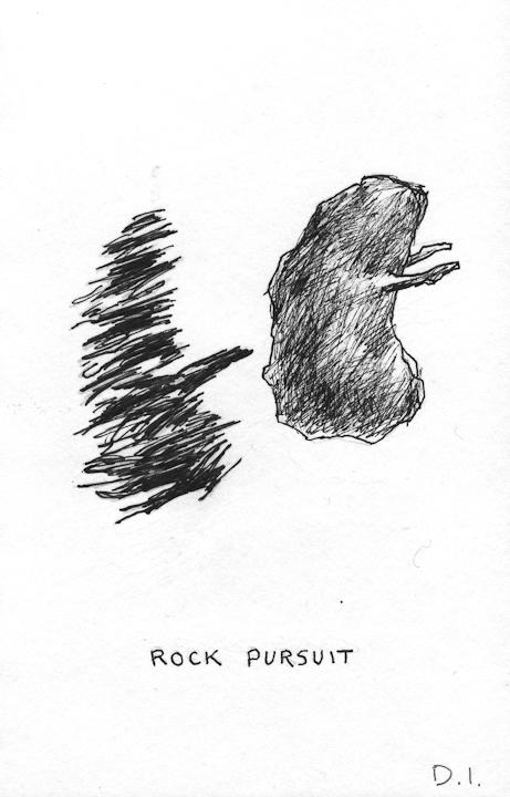 """rock pursuit, 2009 ink on paper 5 5/8 x 3 3/4 """""""