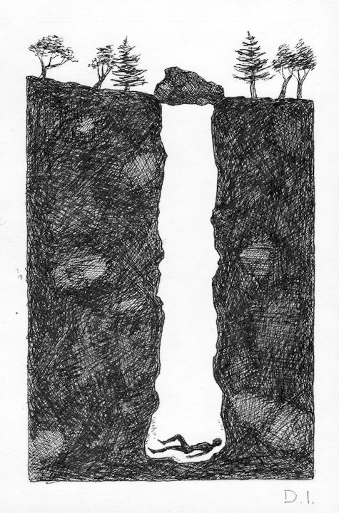 tunnel,  2009 ink on paper 5 5/8 x 3 3/4 ""
