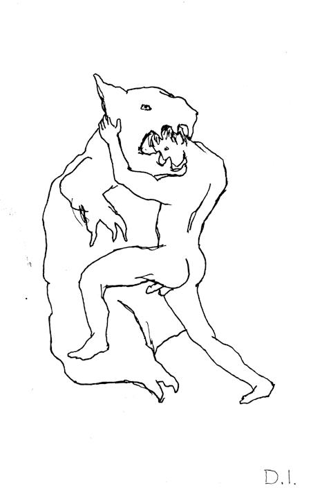 "unfortunate love, 2009 ink on paper 5 5/8 x 3 3/4 """