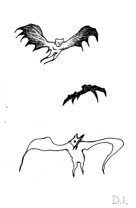 bat types,  2009 ink on paper 5 5/8 x 3 3/4 ""