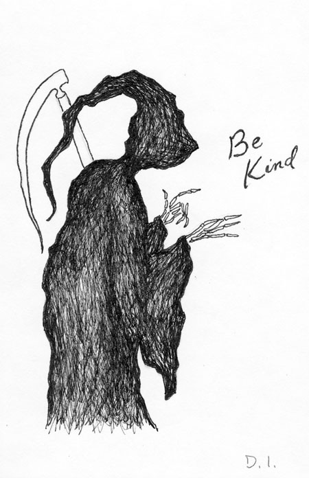 be kind,  2009 ink on paper 5 5/8 x 3 3/4 ""