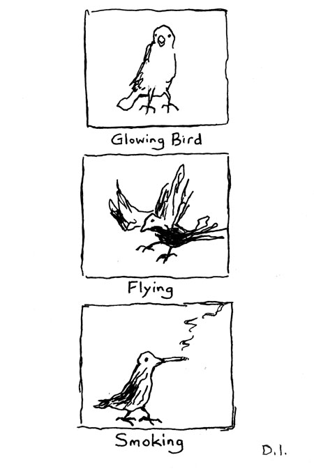 "bird types, 2009 ink on paper 5 5/8 x 3 3/4 """