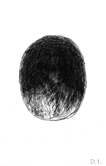 """dark portrait, 2009 ink on paper 5 5/8 x 3 3/4 """""""