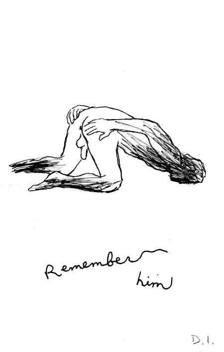 remember him,  2009 ink on paper 5 5/8 x 3 3/4 ""