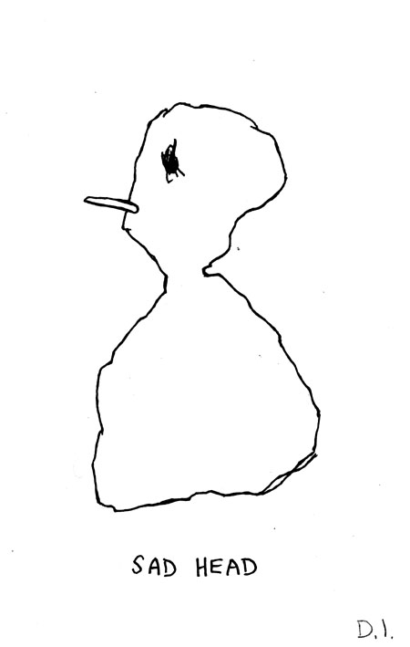 """sad head, 2009 ink on paper 5 5/8 x 3 3/4 """""""