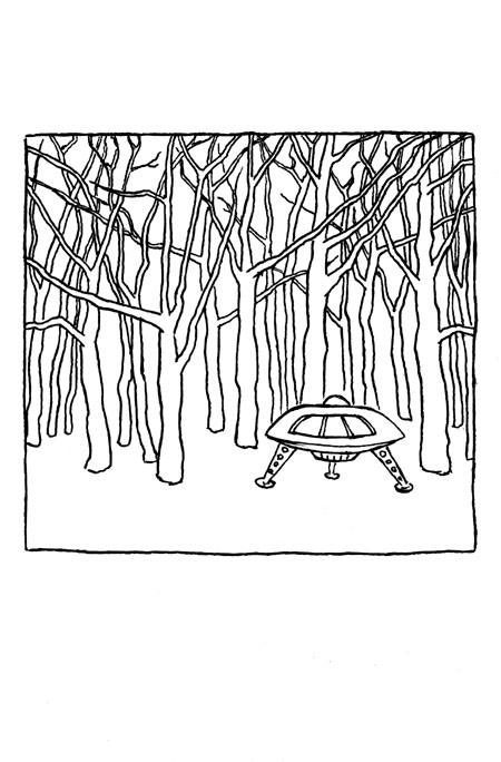 saucer in woods,  2009 ink on paper 5 5/8 x 3 3/4 ""