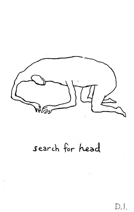 search for head,  2009 ink on paper 5 5/8 x 3 3/4 ""