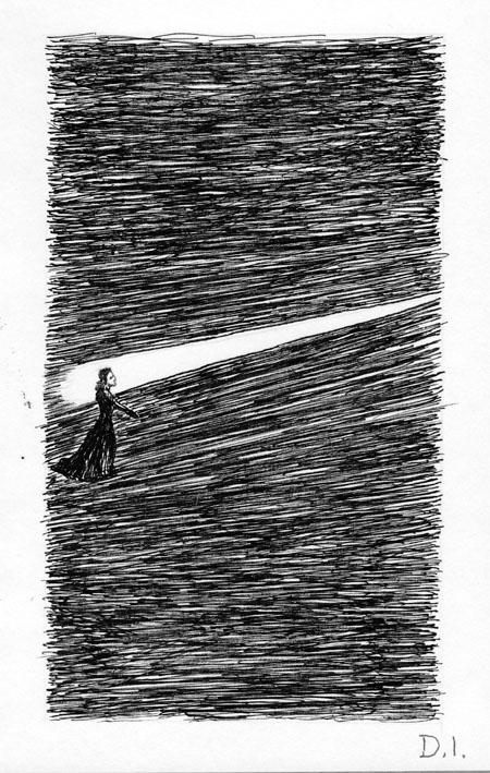 "spotlight, 2009 ink on paper 5 5/8 x 3 3/4 """