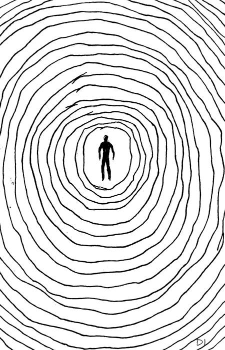 "stick man, 2009 ink on paper 5 5/8 x 3 3/4 """