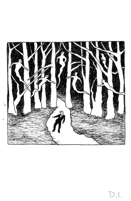 the dead in the trees,  2009 ink on paper 5 5/8 x 3 3/4 ""