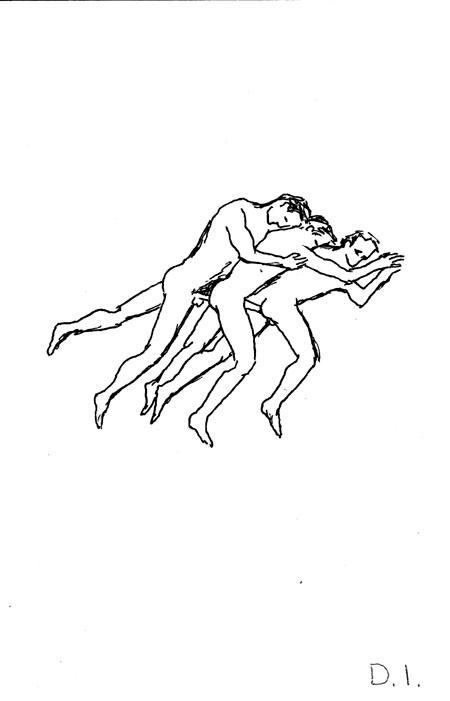 """three buddies, 2009 ink on paper 5 5/8 x 3 3/4 """""""