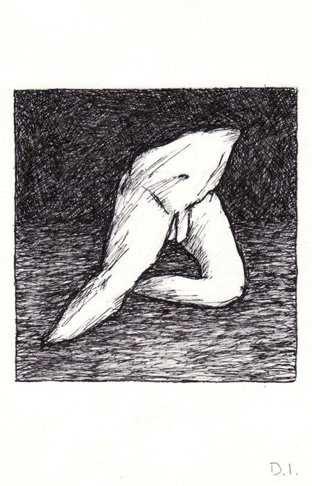 """torso 5, 2009 ink on paper 5 5/8 x 3 3/4 """""""