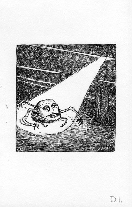 "under the floor, 2009 ink on paper 5 5/8 x 3 3/4 """