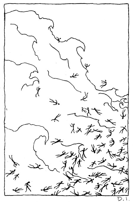 wave,  2009 ink on paper 5 5/8 x 3 3/4 ""