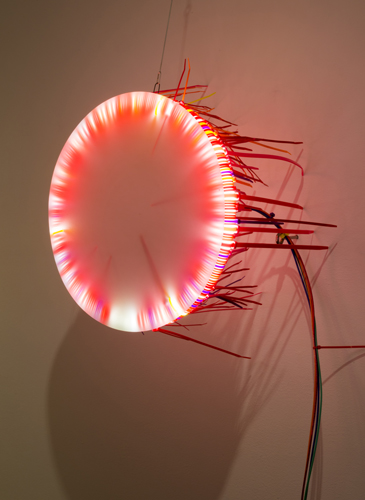 """seven lights 1 ,2014 florescent lights, zip ties, and electric wiring  48 x 24 x 13"""""""