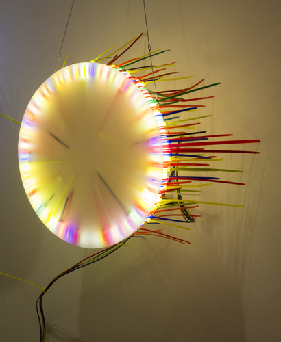 """seven lights 2 ,2014 florescent lights, zip ties, and electric wiring  54 x 24 x 12"""""""