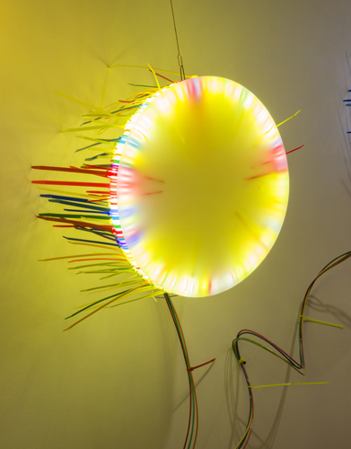 """seven lights 4 ,2014 florescent lights, zip ties, and electric wiring  50 x 20 x 13"""""""