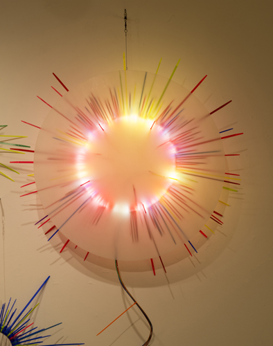 """wall study 2 ,2014 florescent lights, zip ties, and electric wiring  44 x 38 x 7"""""""