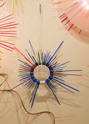 """wall study 3 ,2014 florescent lights, zip ties, and electric wiring  34 x 24 x 7"""""""