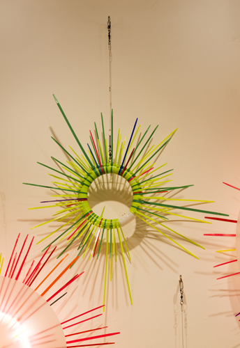 """wall study 4 ,2014 florescent lights, zip ties, and electric wiring  34 x 24 x 9"""""""