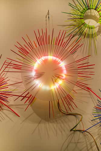 """wall study 5 ,2014 florescent lights, zip ties, and electric wiring  41 x 33 x 7 """""""