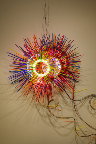 move forward , 2014 florescent lights, zip ties, and electric wiring  68 x 44 x 17""